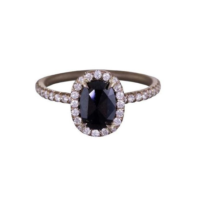 Mandrel Studio Black Diamond Halo Solitaire Ring