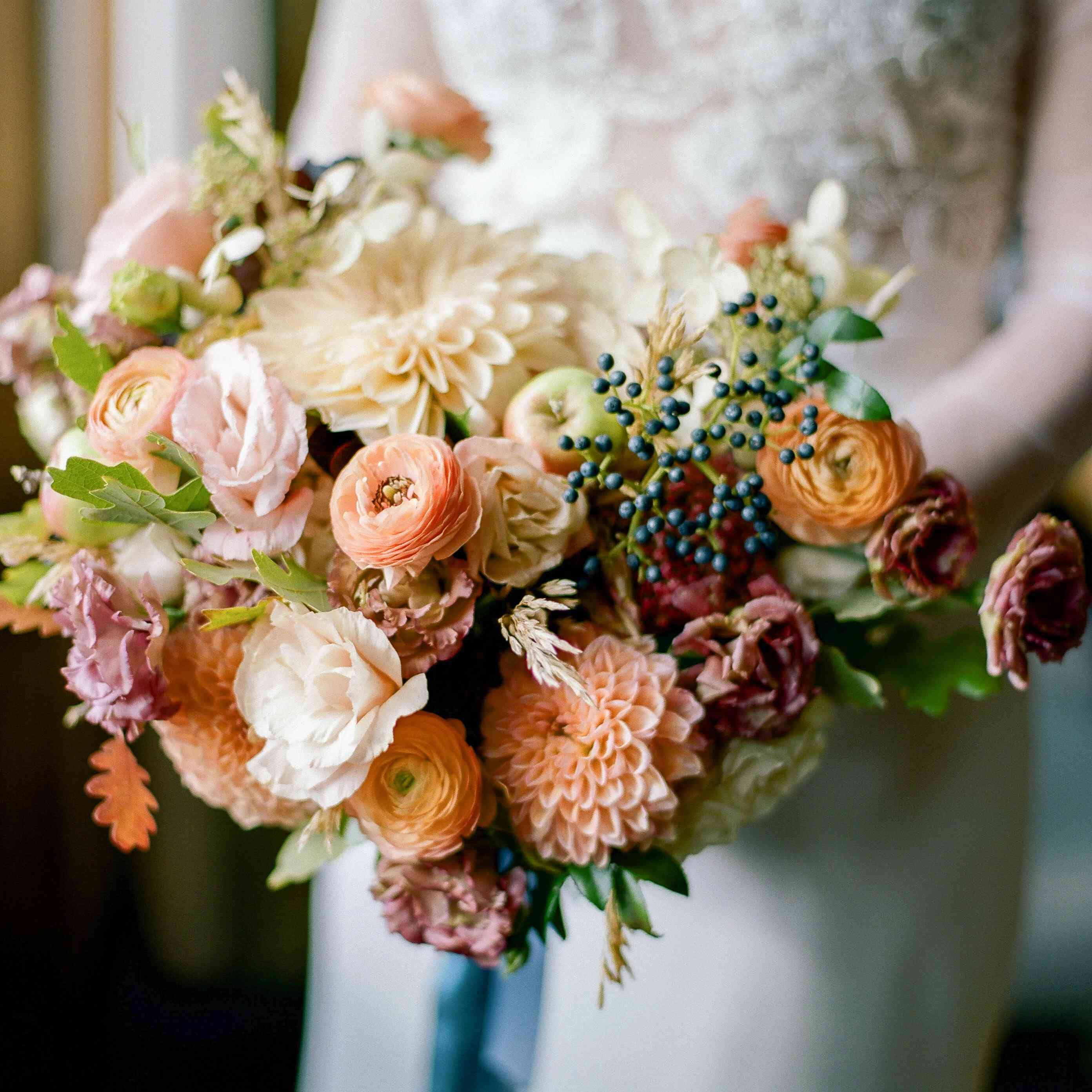 Autumnal bouquet featuring dahlias and ranunculus