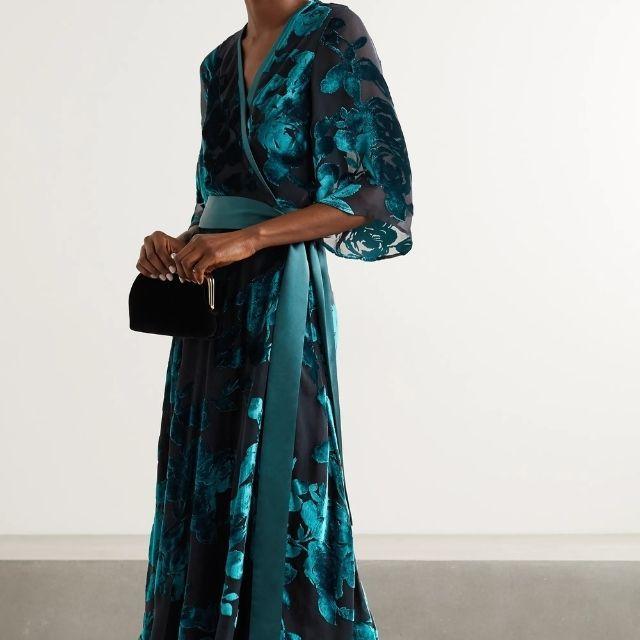 Galvan Satin-Trimmed Velvet Wrap Dress