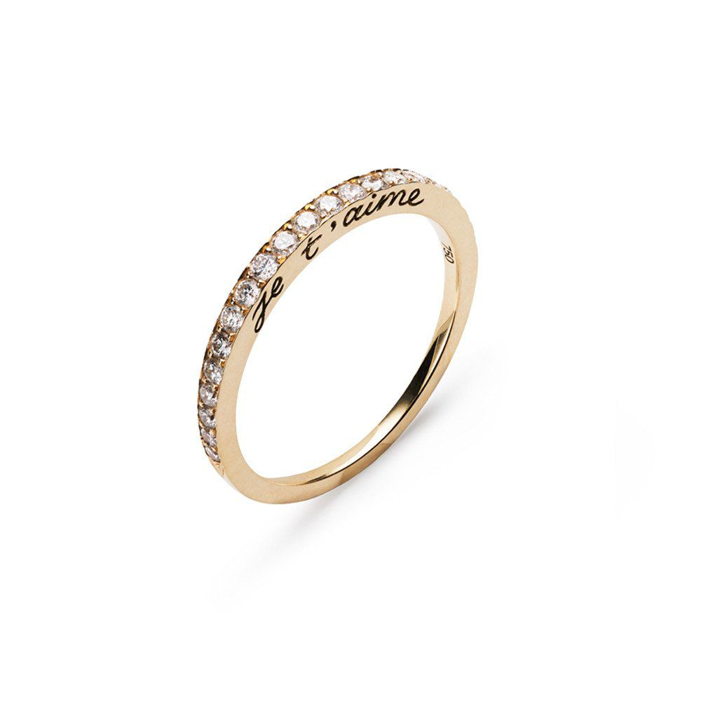 Nora Kogan Tapered Gold Band With Diamond Pavé and Je T'aime Engraving