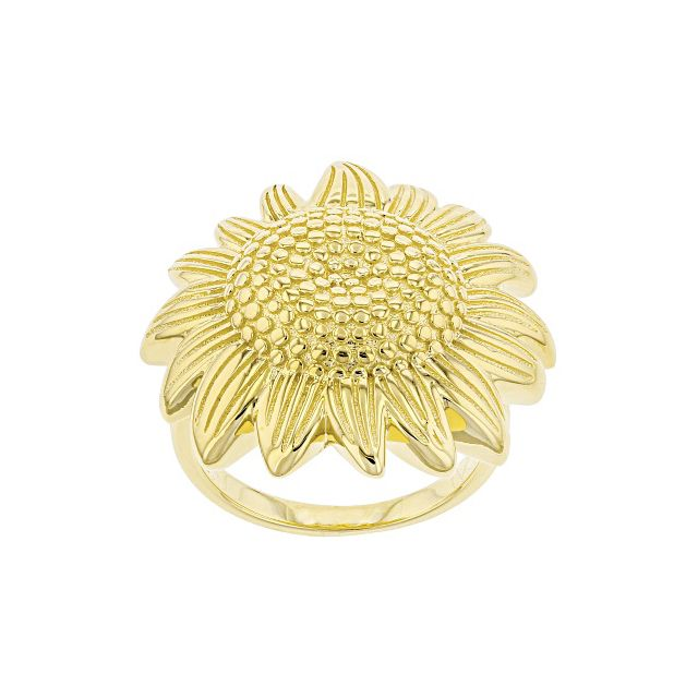 JTV Yellow Gold Over Sterling Silver Sunflower Ring