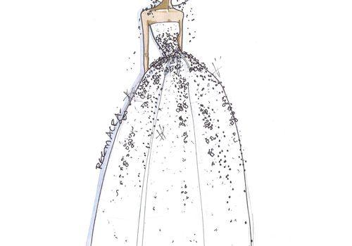 Reem Acra Wedding Dress Fall 2018 Sketch