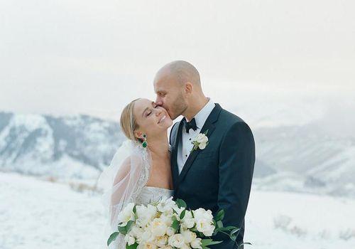 Bride and Groom Snowy Portrait
