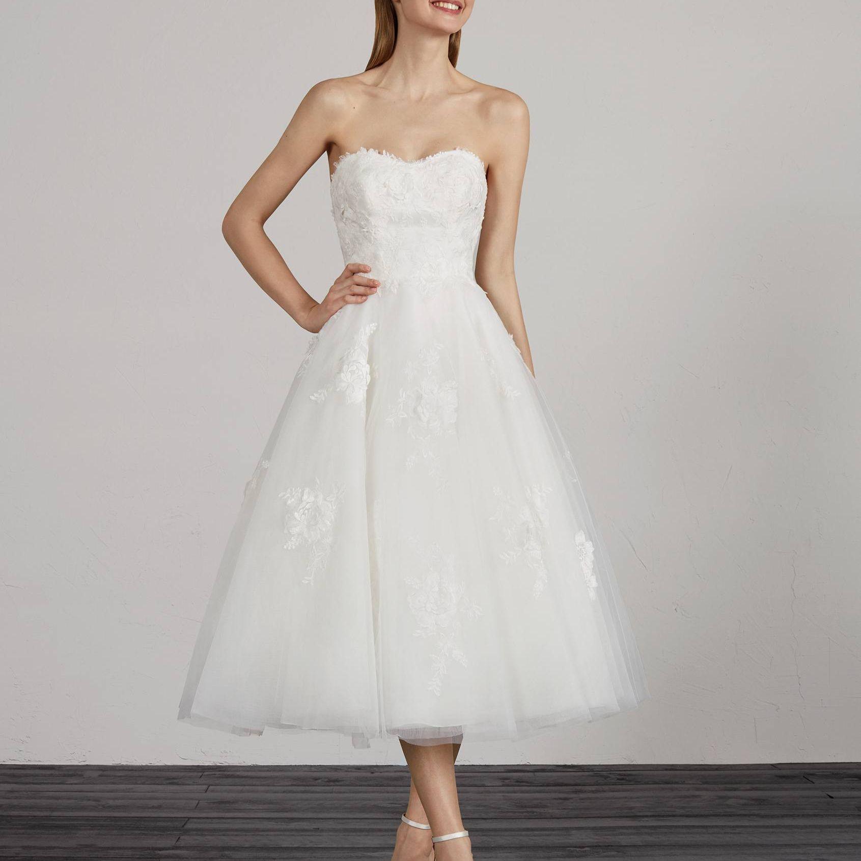 Pronovias Marile Tea Length Wedding Dress, price upon request