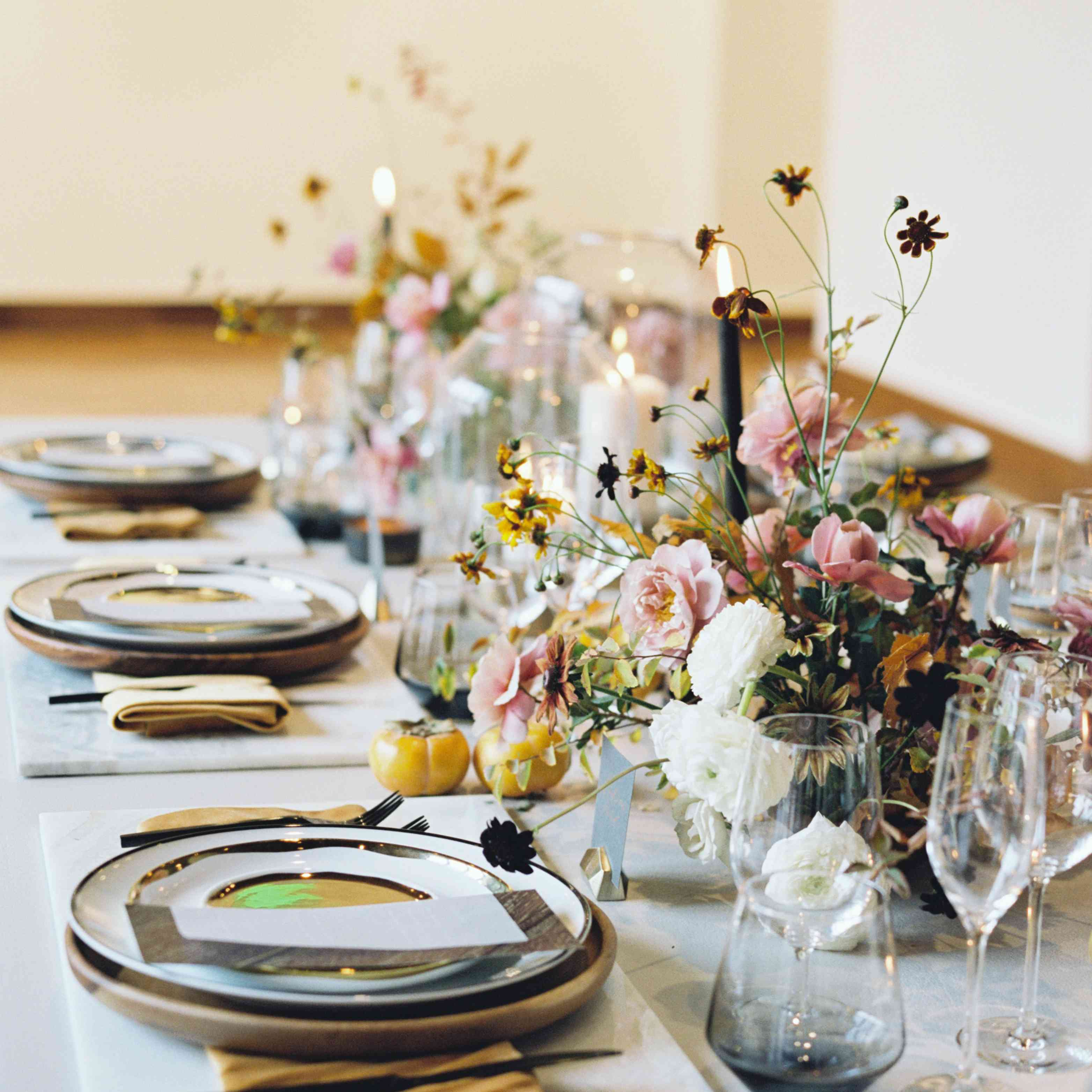 Textured and mixed color palette wedding tablescape