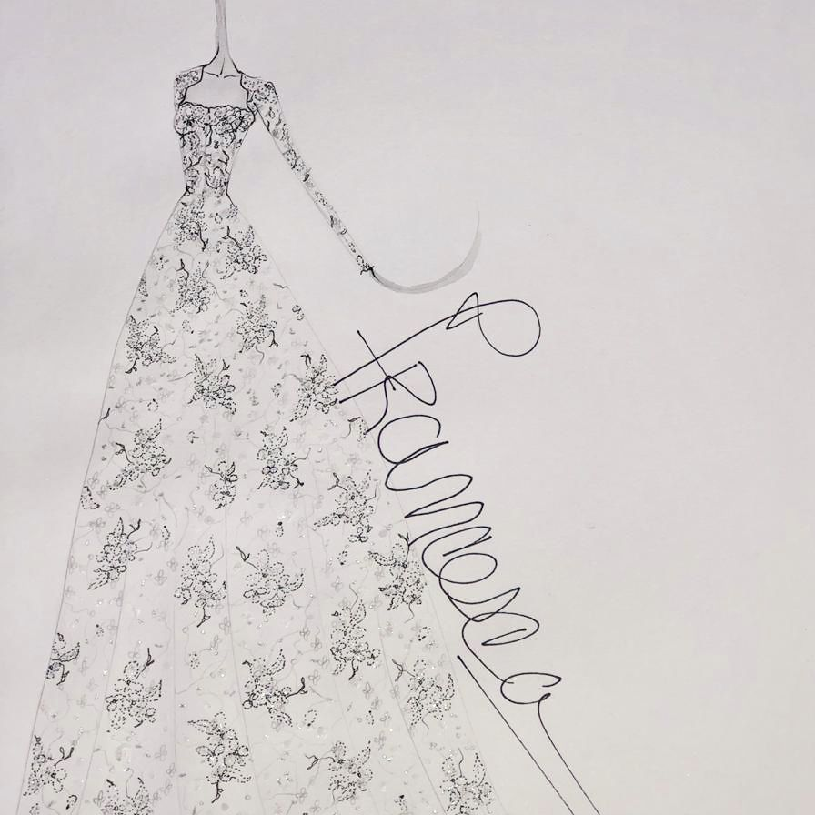 Francesca Miranda Fall 2020 Wedding Dress Sketch