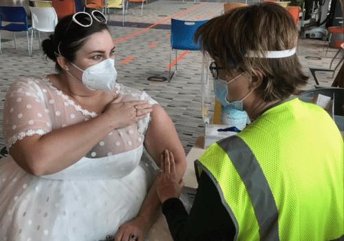 Sarah Studley Vaccine in Wedding Dress