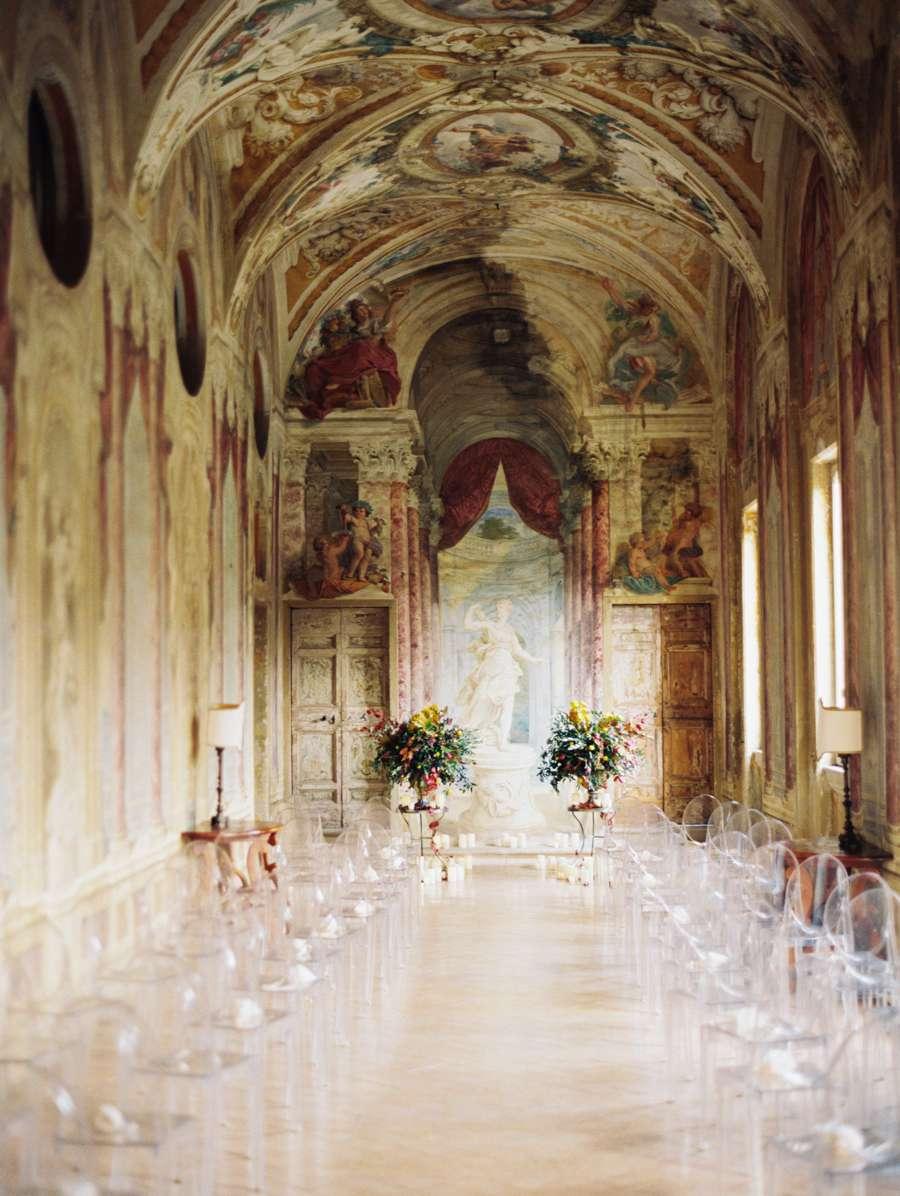 Wedding ceremony under renaissance painting