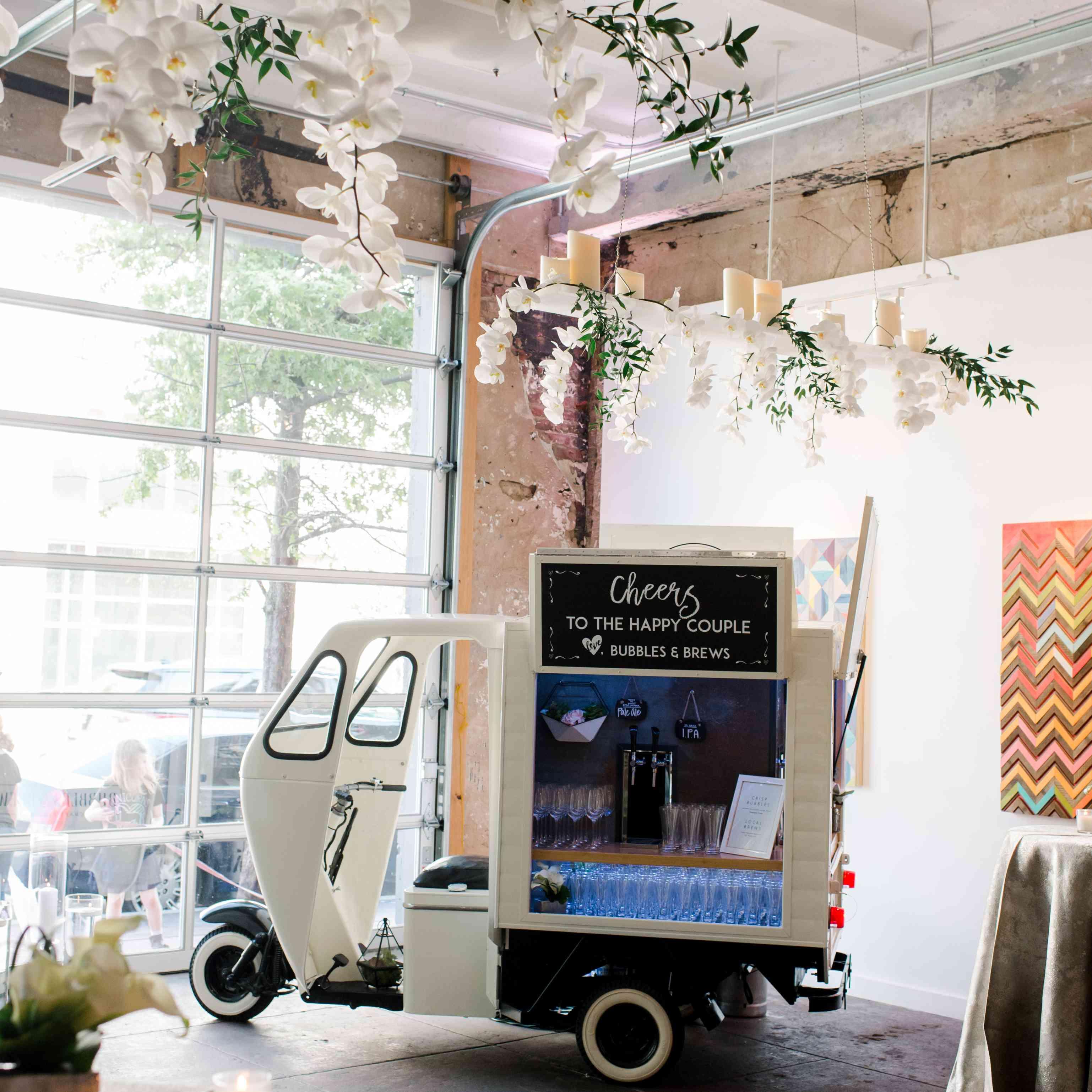 Mobile bicycle bar at wedding reception