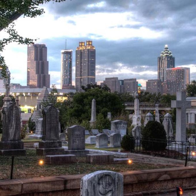 It may come as no surprise that a graveyard is haunted, but have you ever thought of getting married in one? The Oakland Cemetery , located in a quiet part of downtown Atlanta, is a historic sight that offers outdoor weddings for up to 2,000 guests —and their ghostly visitors. And you'll love the backdrop options for your wedding photos: Victorian gardens, stone pathways, remarkable statues, and tons of flowers and trees. More than 70,000 souls were laid to rest in the cemetery, including Civil War soldiers who can be heard doing roll call 150 years later. They may be looking for the nearly 3,000 unknown Confederates who died in battle and are honored by the cemetery's Lion of Atlanta monument. As a more chilling haunt, other visitors have reported seeing soldiers hanging from trees and bleeding on top of their graves