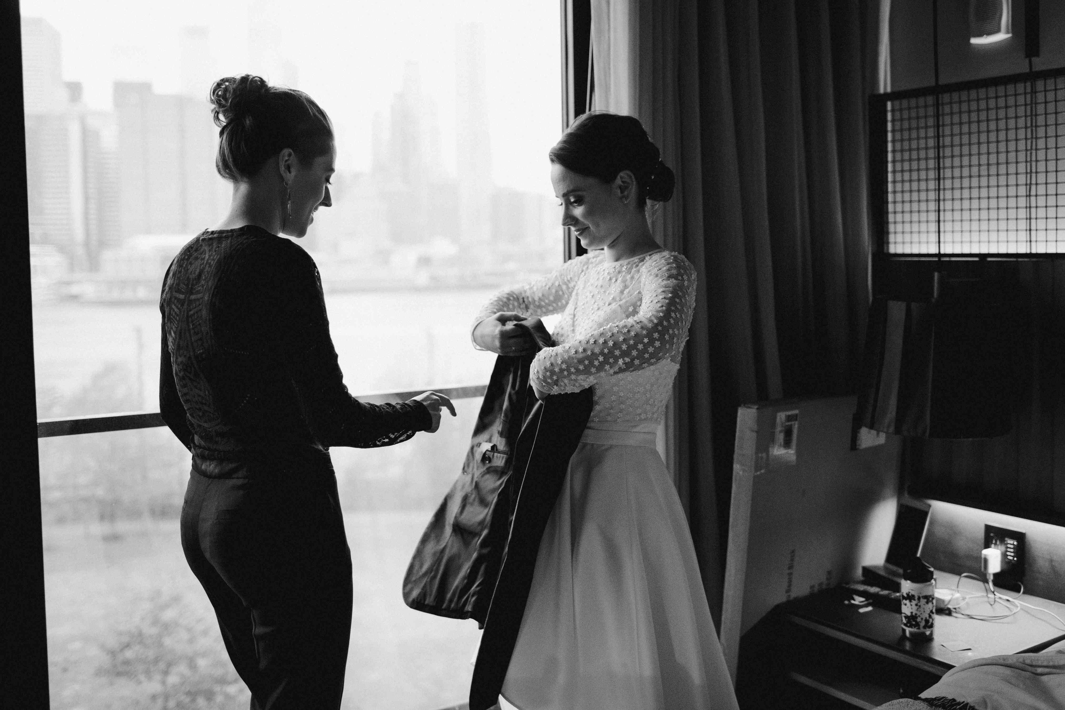 The brides get ready before the ceremony