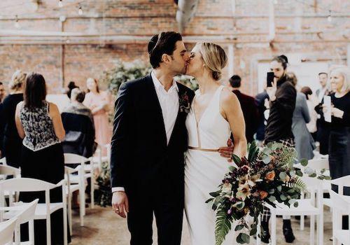 Bride and groom at Jewish wedding