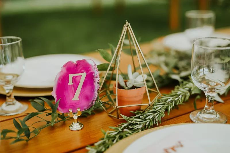 Pink agate table number