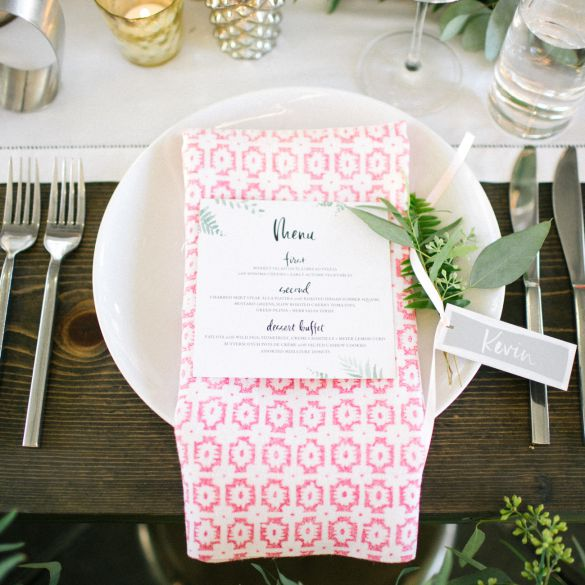 Table setting with bright napkin