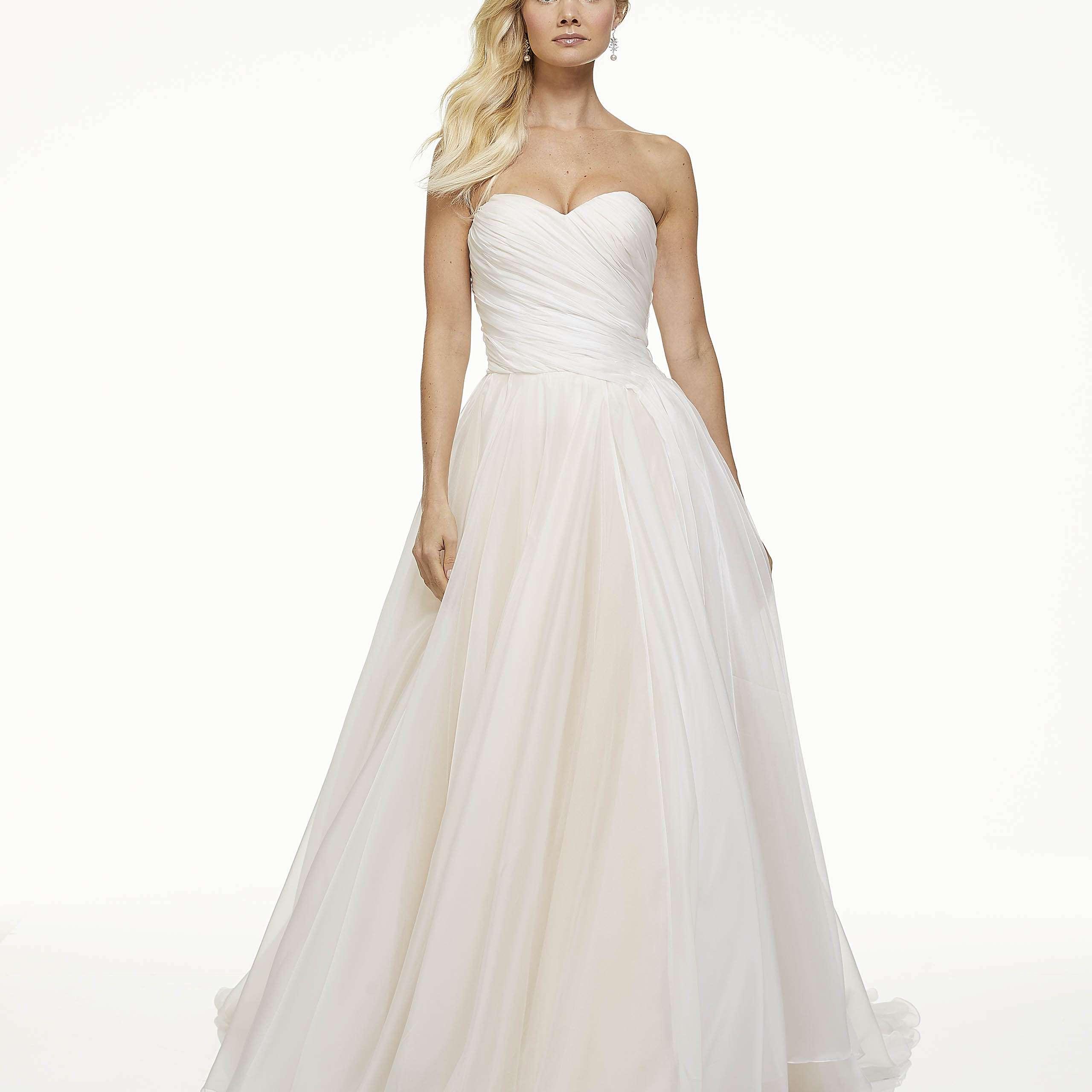 Model in strapless A-line wedding dress