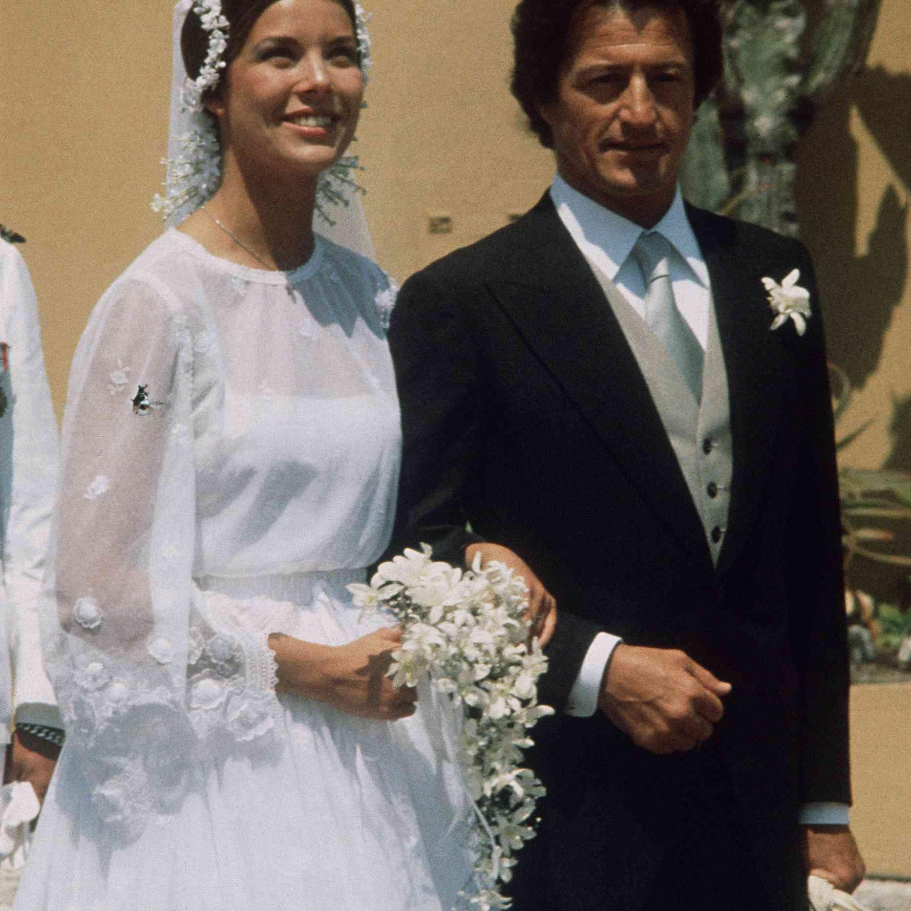 Princess Caroline of Monaco on her wedding day