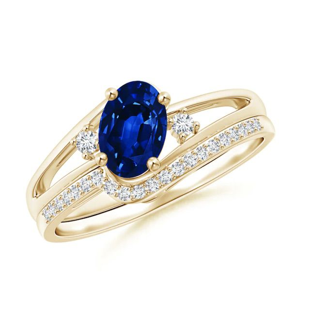 Angara Oval Blue Sapphire and Diamond Wedding Band Ring Set