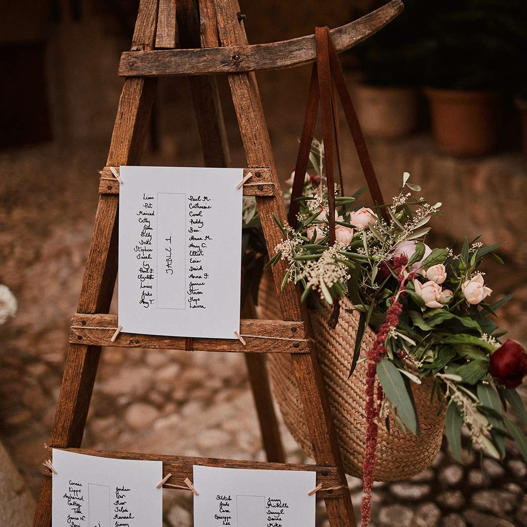 Escort cards at wedding reception