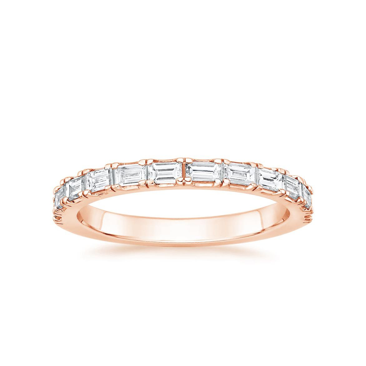 Round Diamond Band Rose Gold Ring Half Eternity Band Eternity Wedding Band Matching Band for Wedding Ring Diamond Band for Her