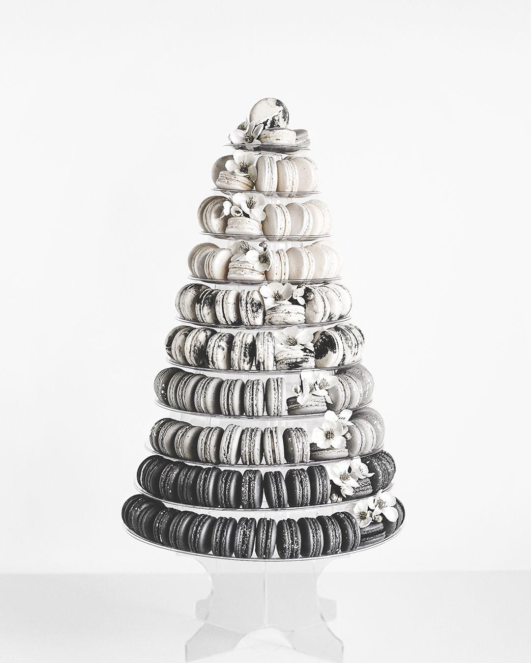 gray macaron wedding cake