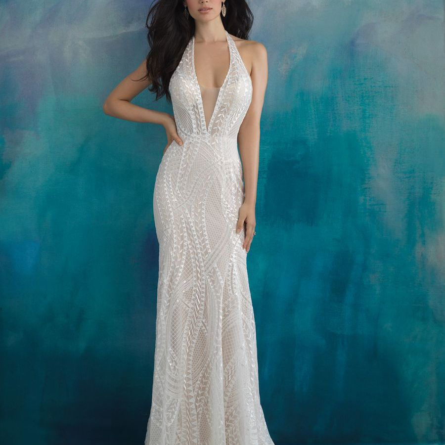 Model in illusion neckline wedding gown with geometric embroidery
