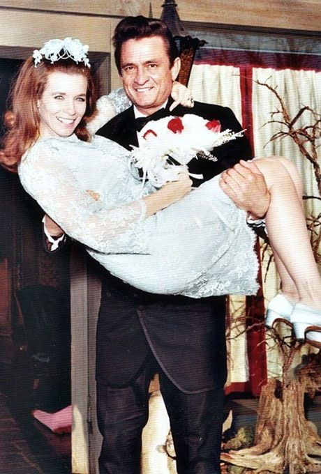 June Carter marries Johnny Cash in a light blue short lace dress, 1968