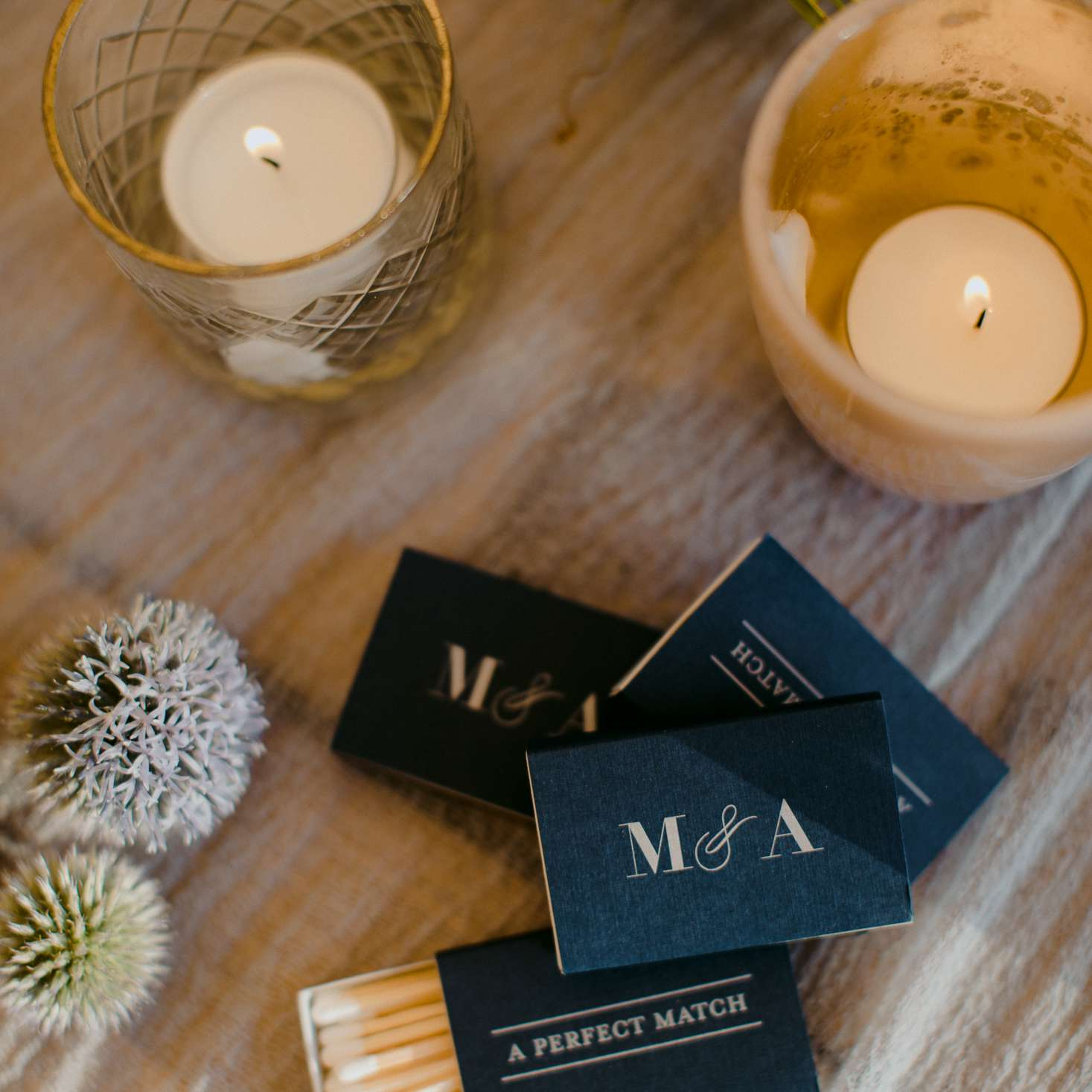 at-home rustic massachusetts wedding, matches wedding favor