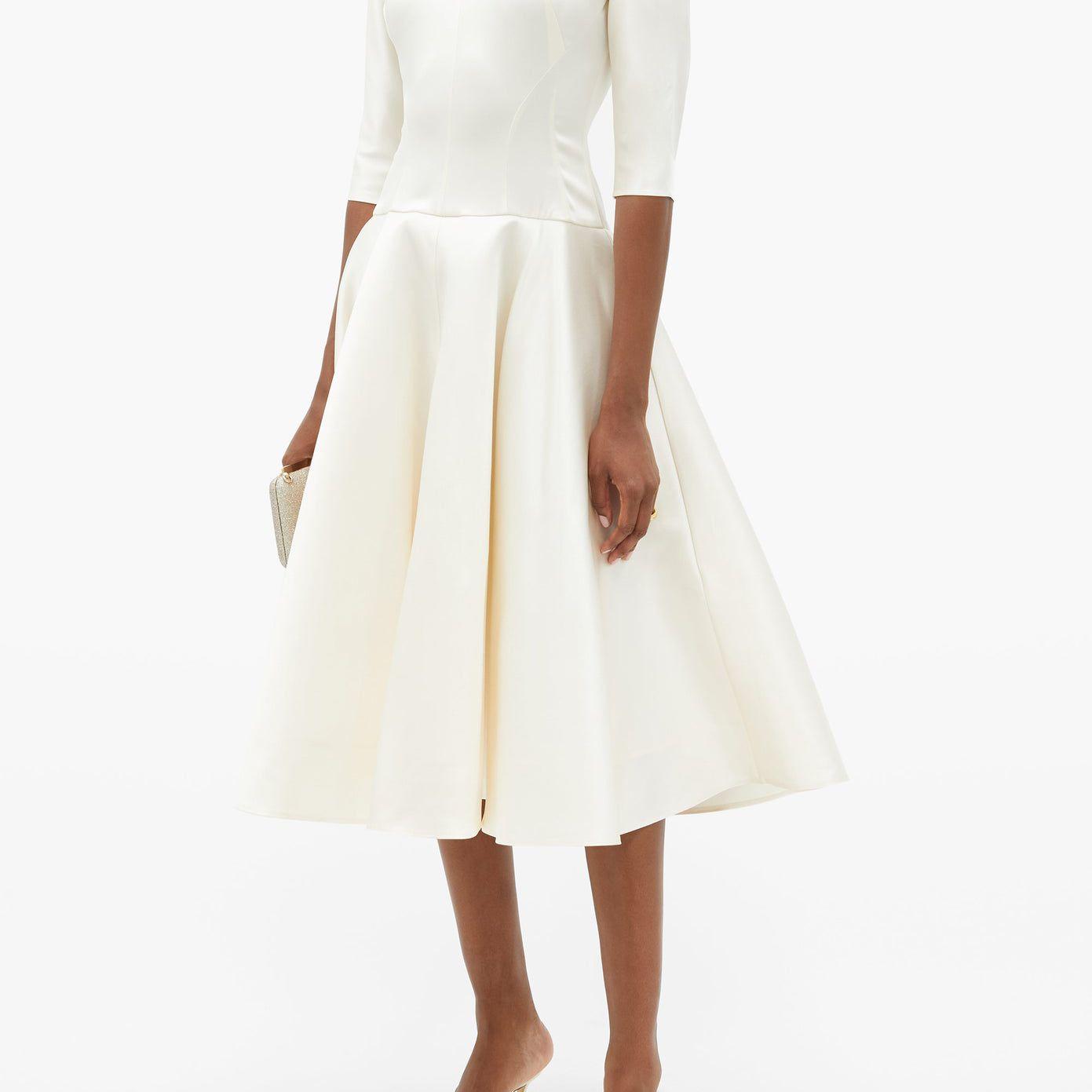 a-line tea length gown