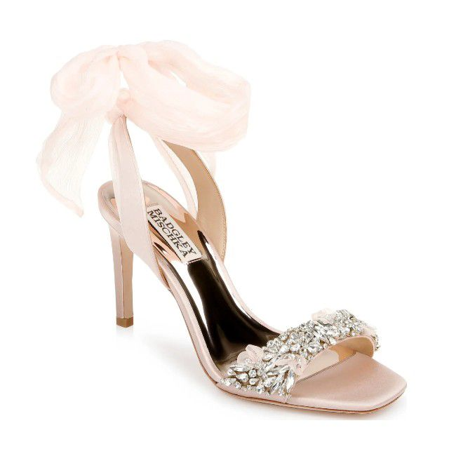 blush sandals with jewels and tulle