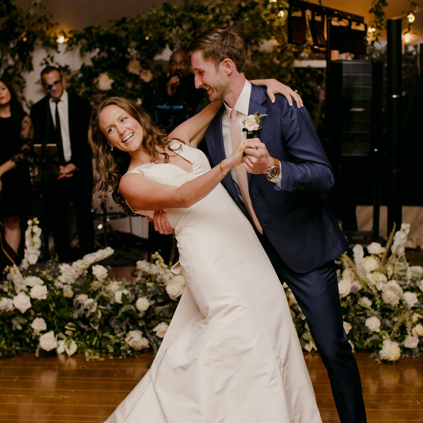 at-home rustic massachusetts wedding, bride and groom dancing