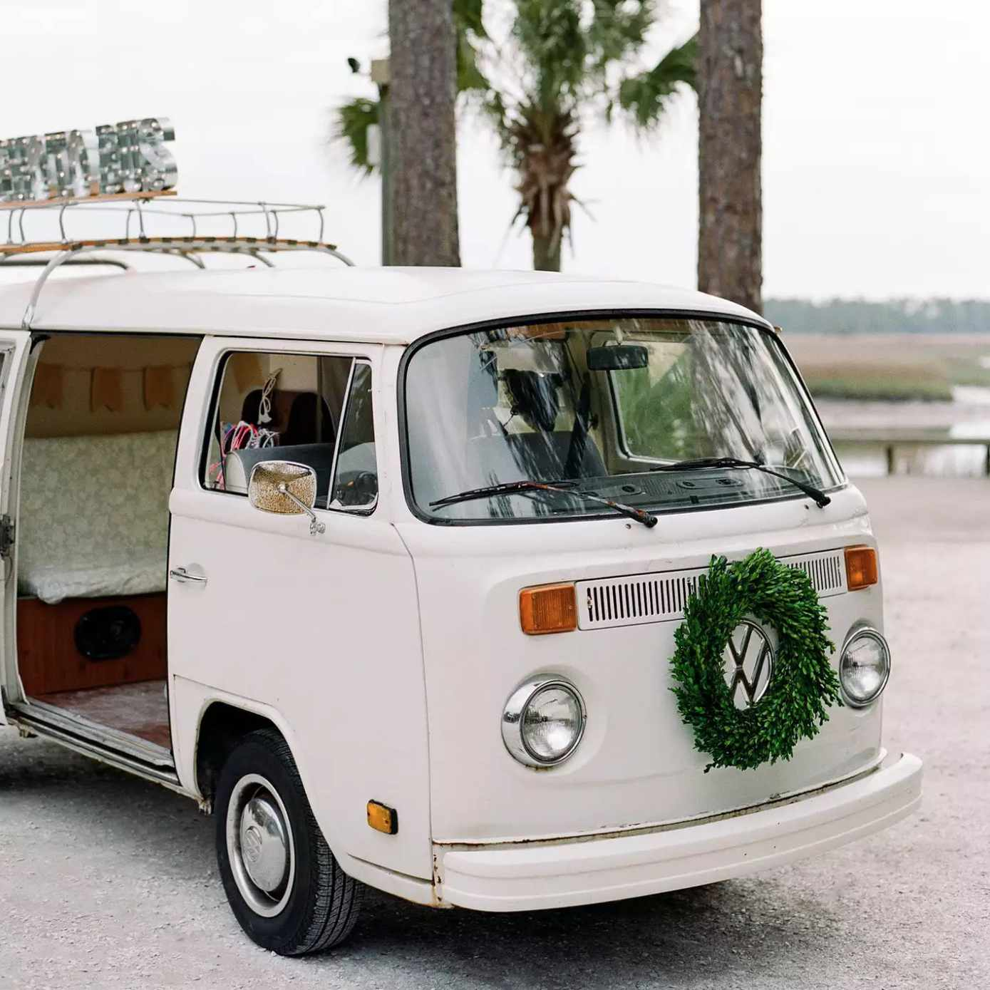 VW Bus with wreath