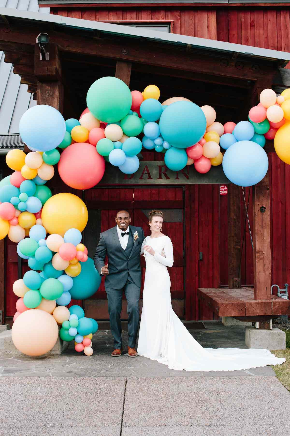 Colorful balloon installation at Brasada Ranch
