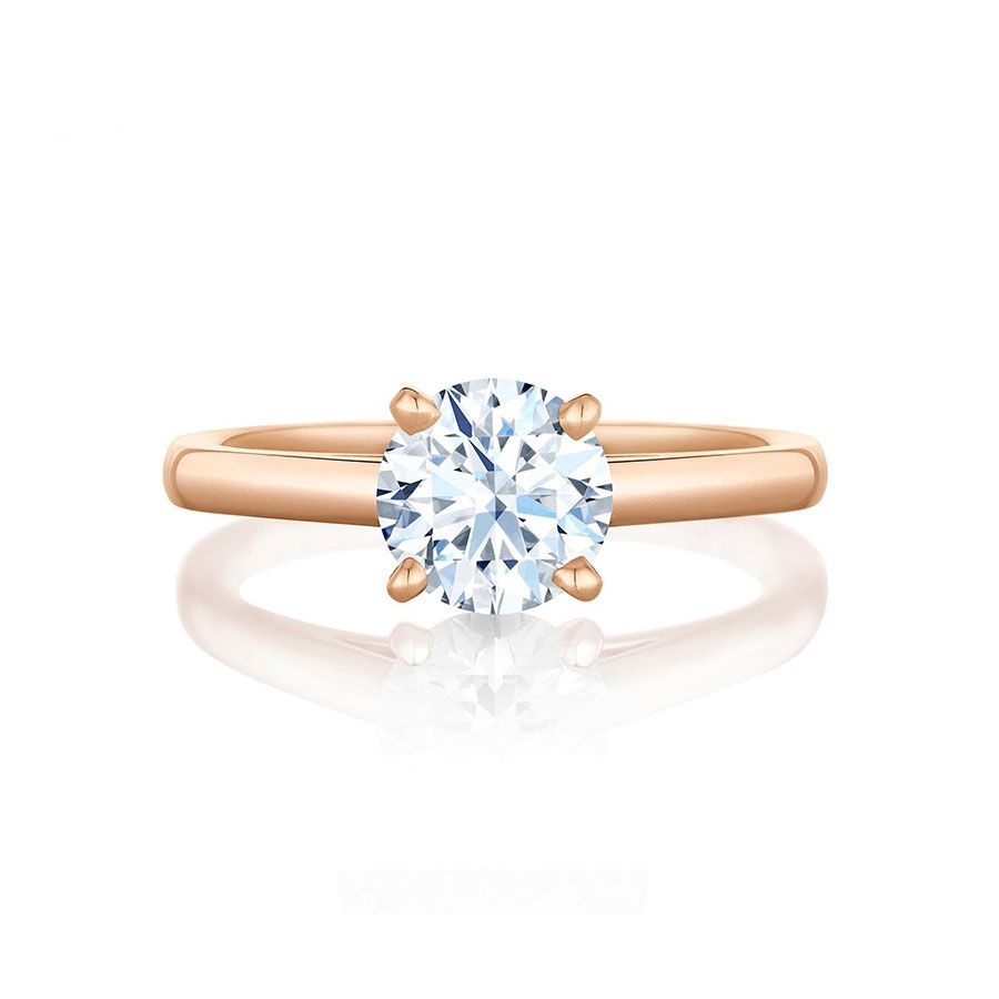 De Beers Round Diamond Rose Gold Engagement Ring
