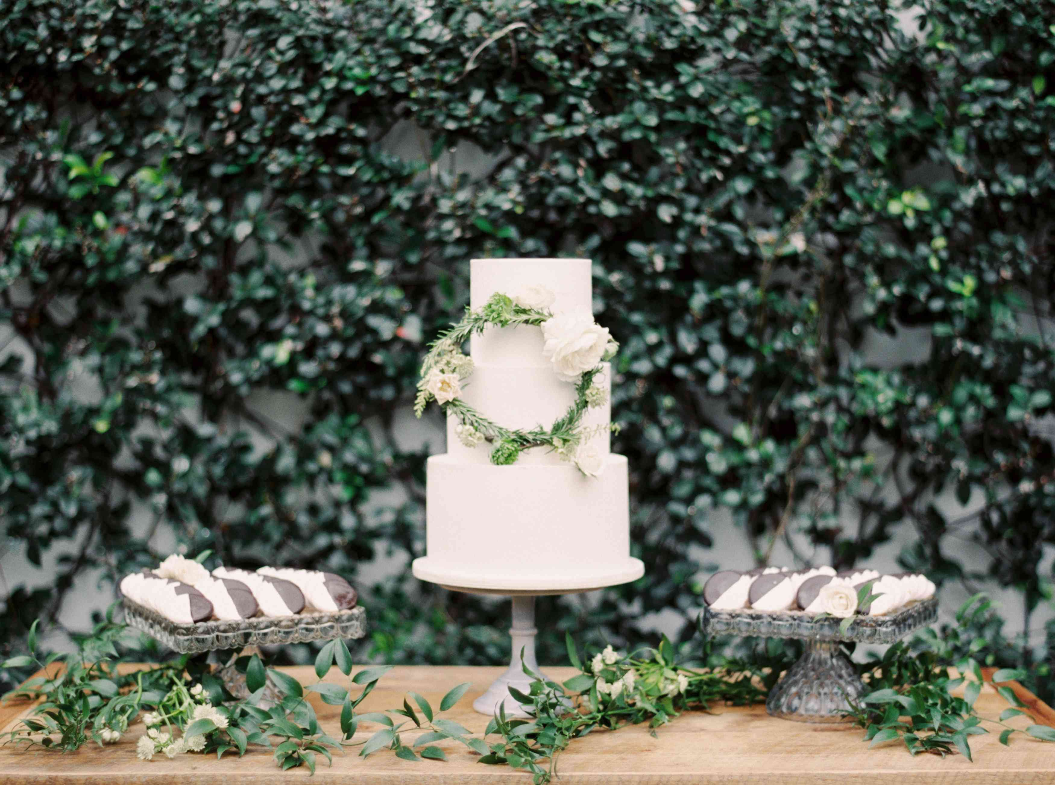 White Wedding Cake with Floral Wreath