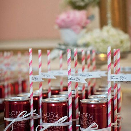 Mini cans of wine as wedding favors