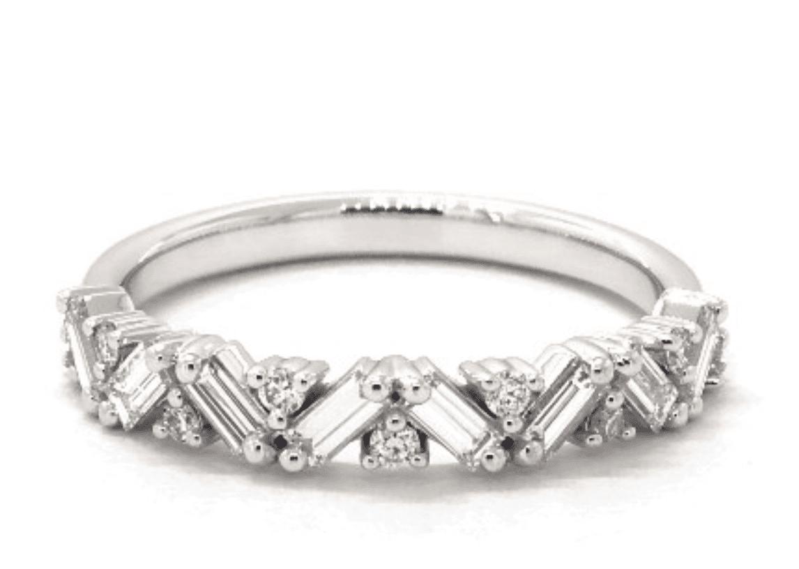 14K White Gold Baguette And Round Zig Zag Diamond Ring