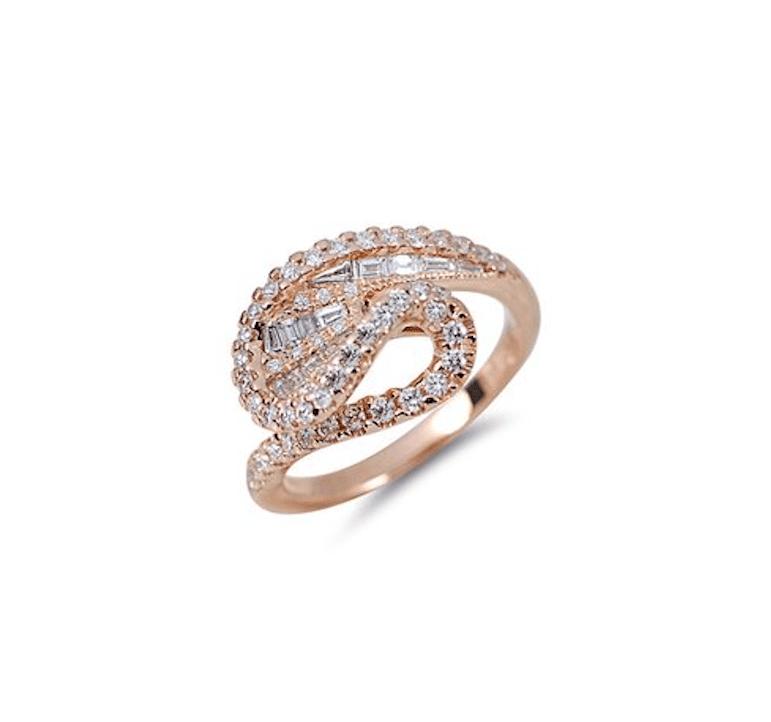 Rose gold unique engagement ring