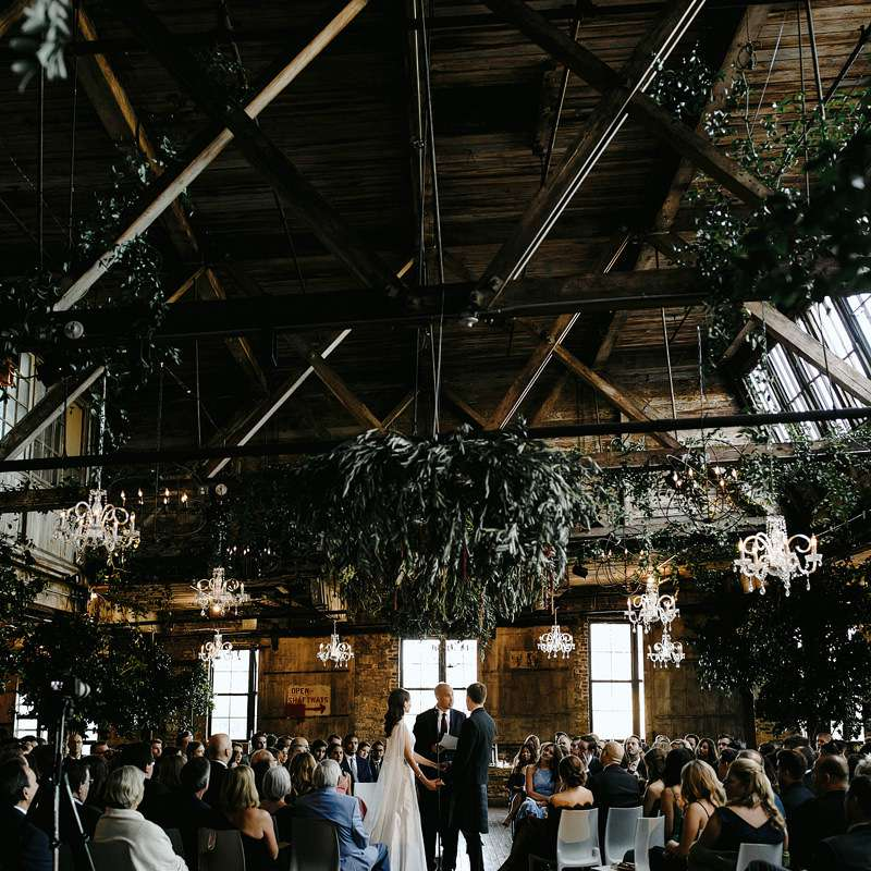Industrial-chic ceremony in the round
