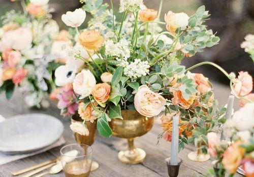 Flower arrangement for table at spring wedding.
