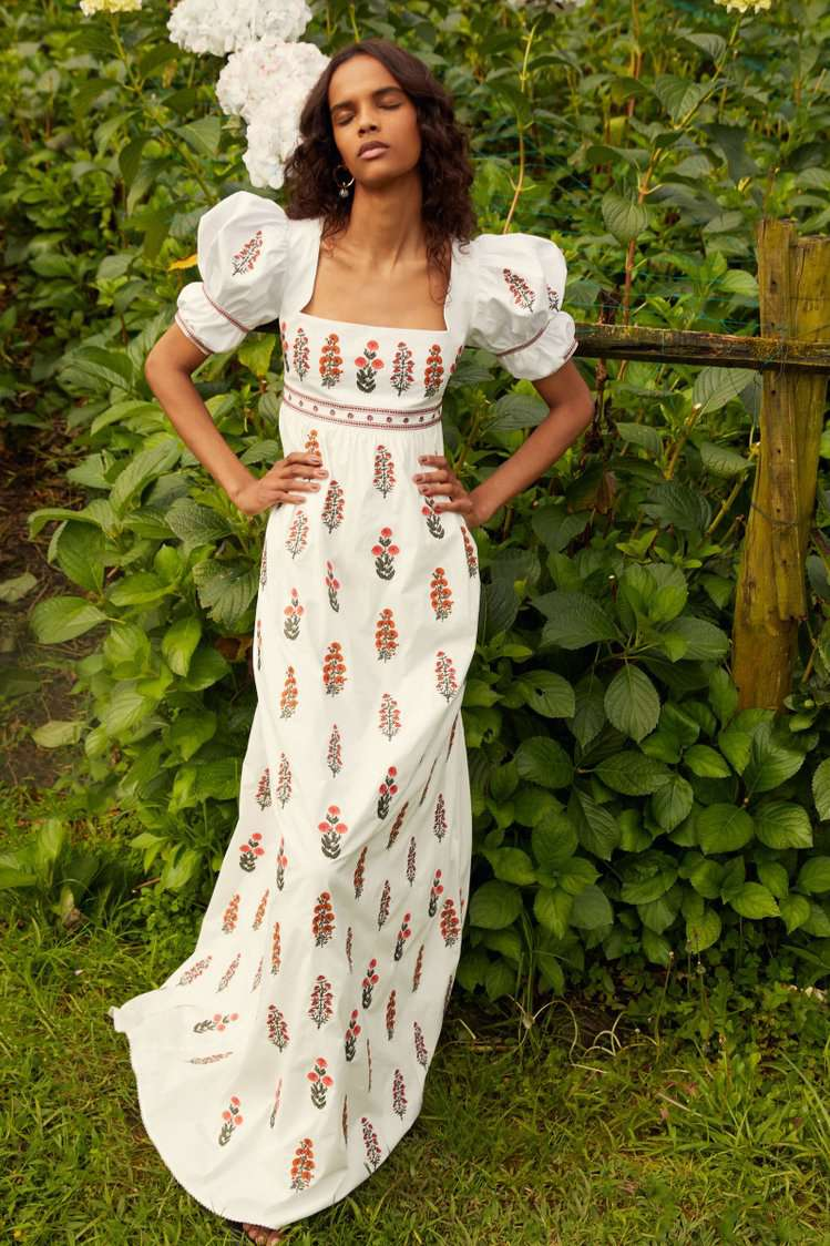 floral puff sleeves gown
