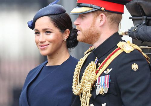 Meghan Markle and Prince Harry arrive at Trooping The Colour, the Queen's annual birthday parade, in London, England.