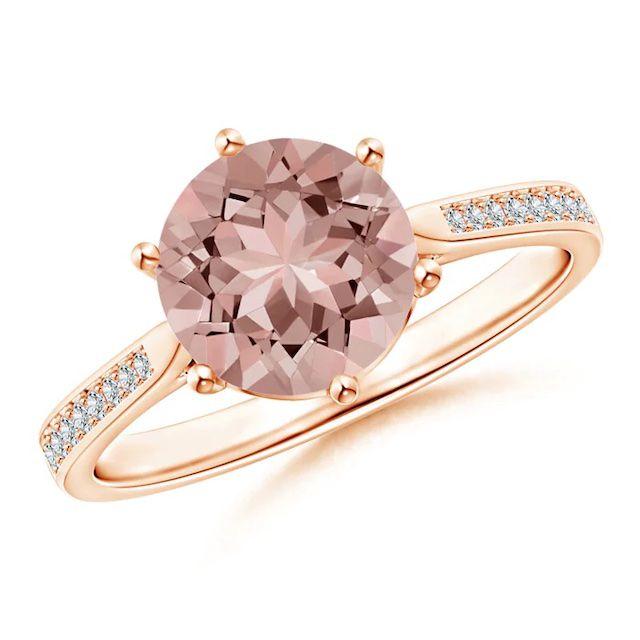 Angara Six Prong-Set Round Morganite Cathedral Engagement Ring
