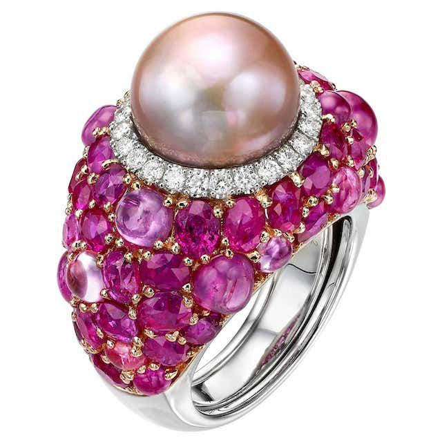 pink pearl ring with white diamonds, pink sapphires and rubies