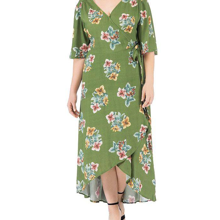B Collection by Bobeau Curvy Curvy Orna Floral-Print Wrap Dress, $69.60, on sale $48.72