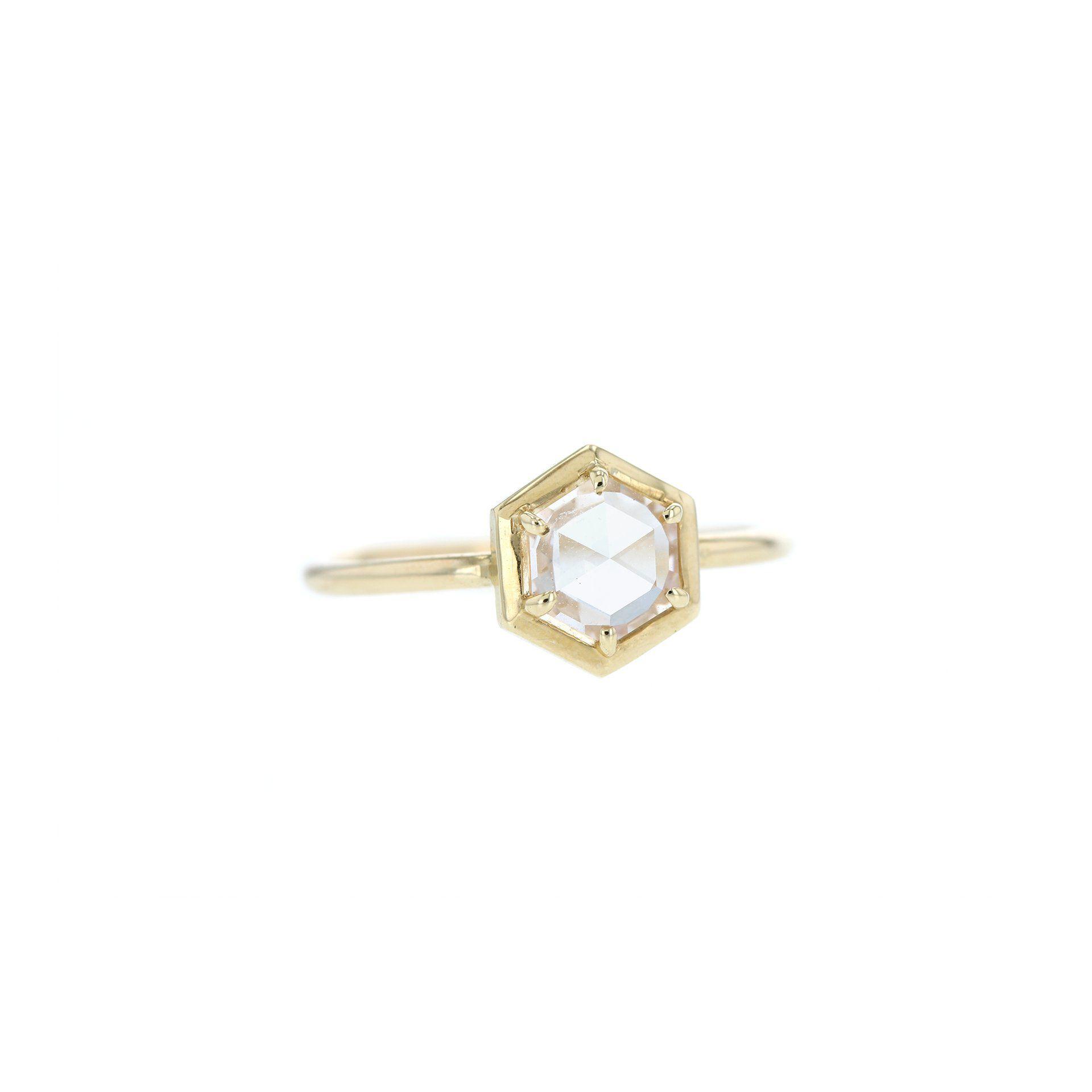 Grace Lee Hex Rose-Cut Diamond Bezel Ring
