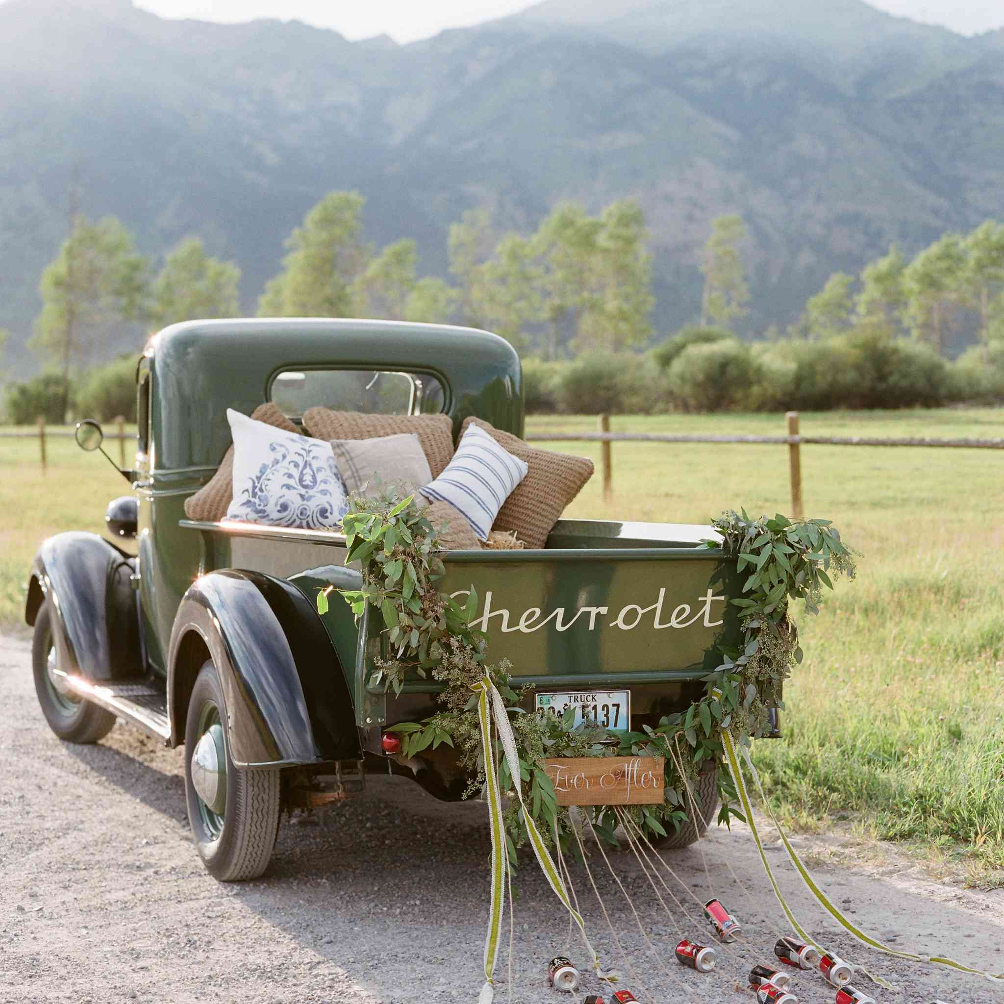 Vintage truck wedding exit and décor