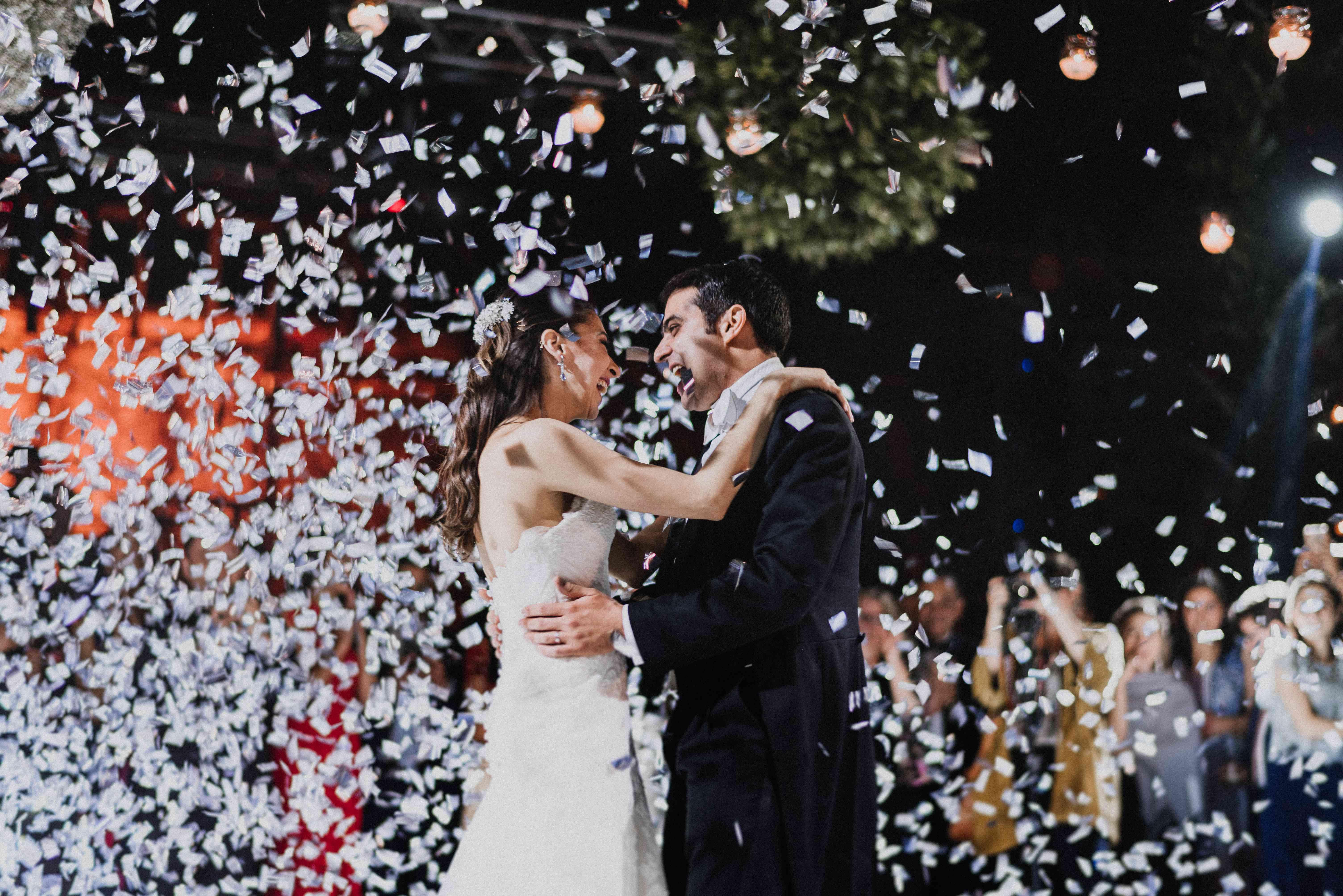 confetti drop on dance floor