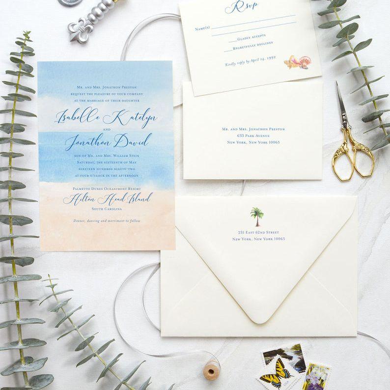 Watercolor beach wedding invitation suite