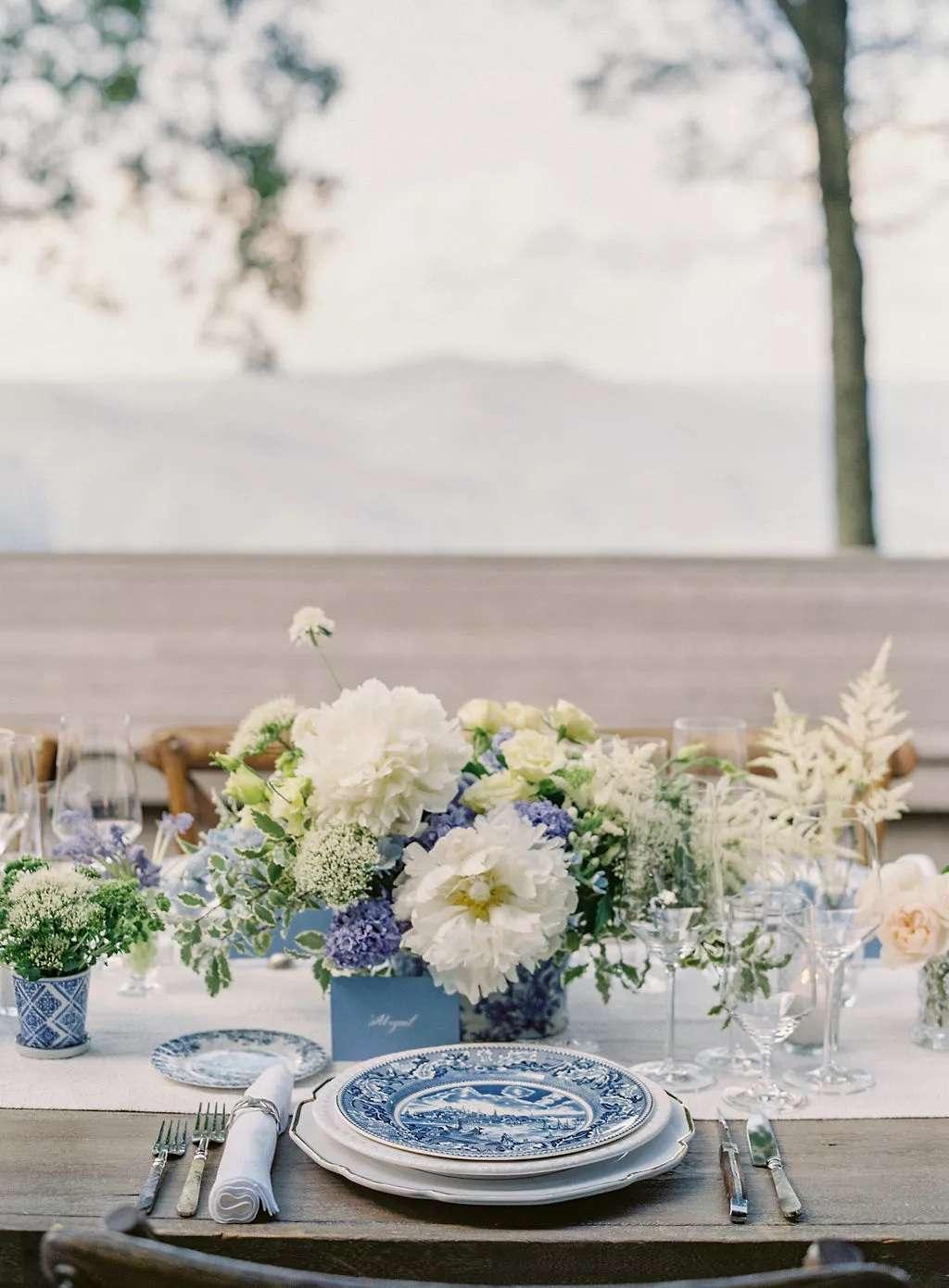 blue and white flower centerpiece