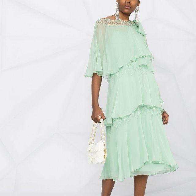 Alberta Ferretti Flounce-Tiered Silk Dress